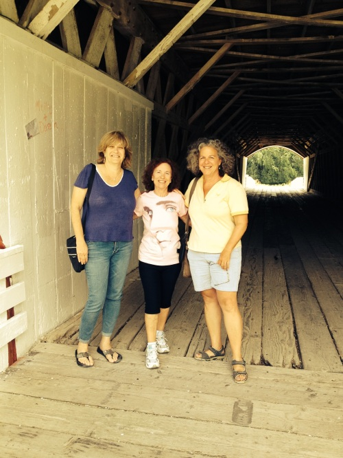 Two yanks and a lady from Pisa (guess which one) at Roseman Bridge in Madison County Iowa
